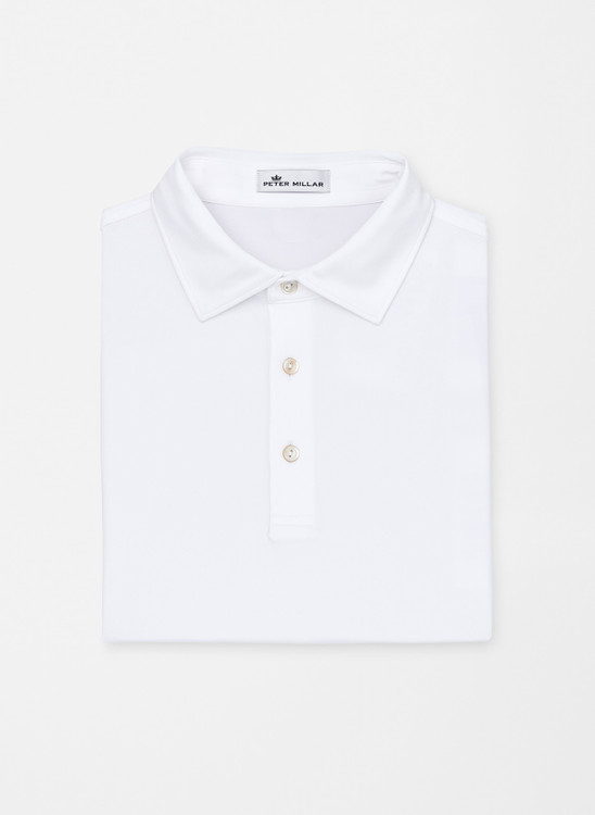 Solid Stretch Jersey 'Crown Sport' Performance Polo with Sean Self Collar in White by Peter Millar