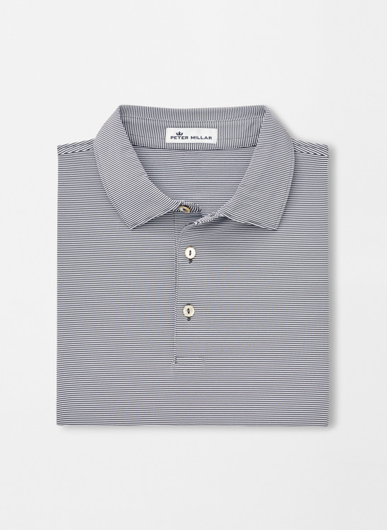 Jubilee Stripe Stretch Jersey 'Crown Sport' Performance Polo with Sean Self Collar in Iron by Peter Millar
