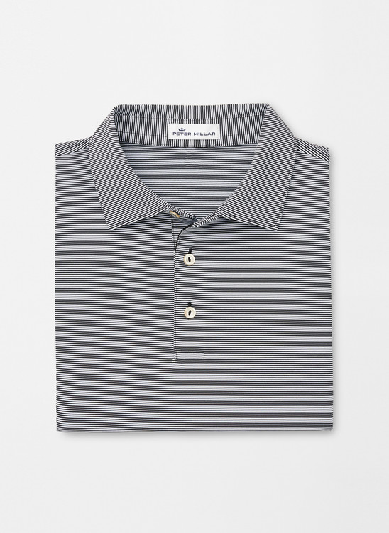 Jubilee Stripe Stretch Jersey 'Crown Sport' Performance Polo with Sean Self Collar in Black by Peter Millar