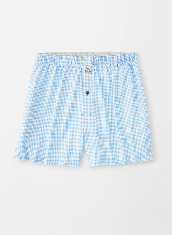 Nebraska Printed Gingham Check Stretch Jersey Performance Boxer in Cottage Blue by Peter Millar