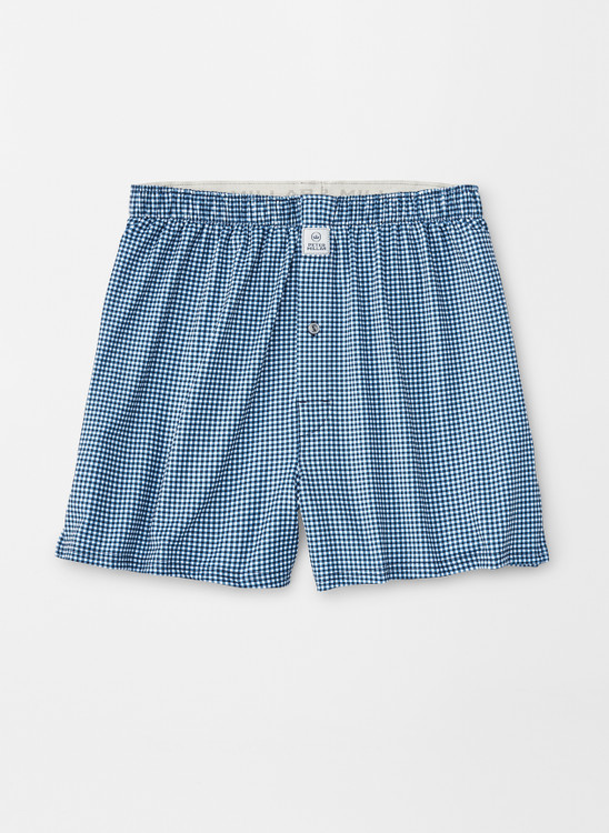 Nebraska Printed Gingham Check Stretch Jersey Performance Boxer in Navy by Peter Millar