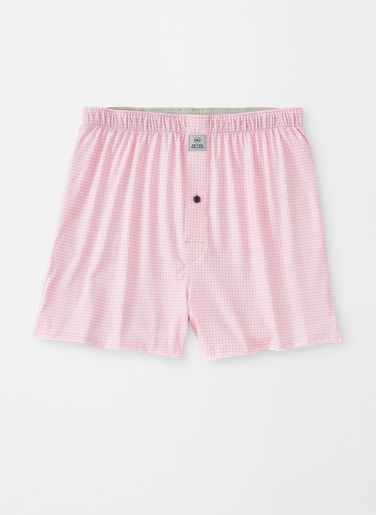 Nebraska Printed Gingham Check Stretch Jersey Performance Boxer in Palmer Pink by Peter Millar