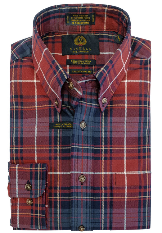 Red and Blue Plaid Button-Down Shirt by Viyella