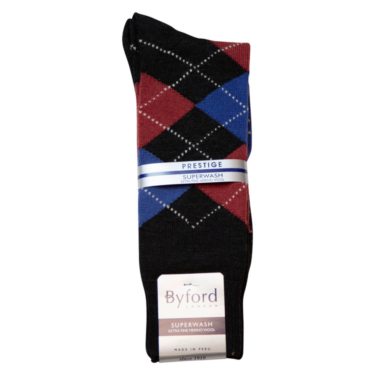Charcoal Argyle Superwash Merino Wool Socks Over The Calf Closeout (Single Pair) by Byford