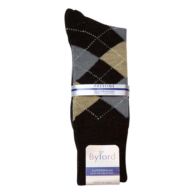 Brown Argyle Superwash Merino Wool Socks (Over The Calf) by Byford