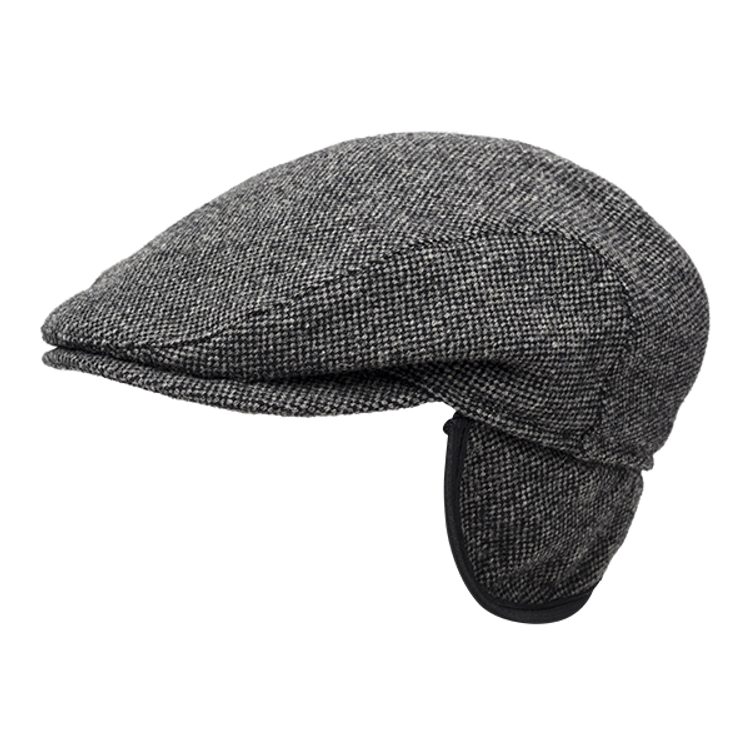 Donegal Weave Wool Ivy Slim Cap with Earflaps in Dark Grey by Wigens