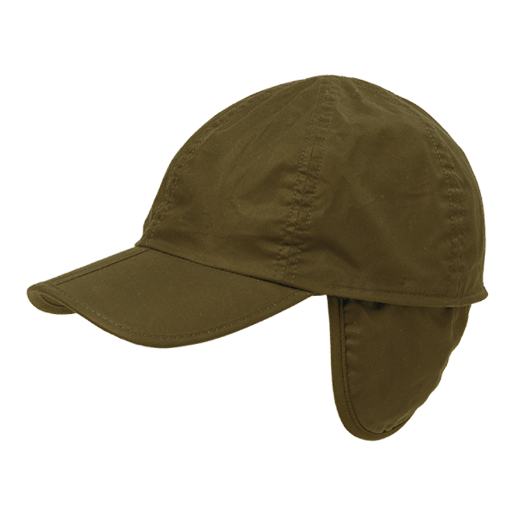 Waxed Cotton Baseball Cap with Flannel Lining and earflaps in Choice of Colors by Wigens