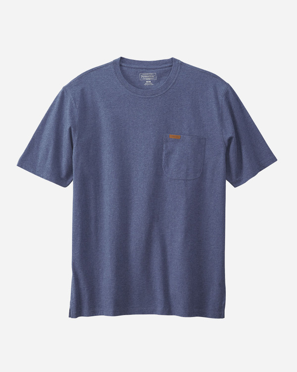Men's Short-sleeve Deschutes Pocket Tee in Navy Heather by Pendleton