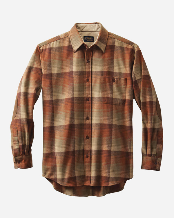 Elbow-Patch Trail Shirt in Pumpkin & Brown Ombre by Pendleton