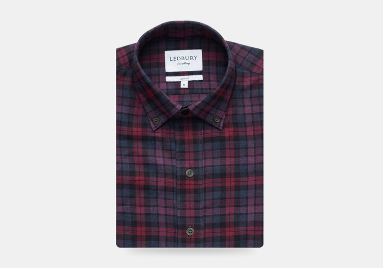 The Plum Torello Check Casual Shirt by Ledbury