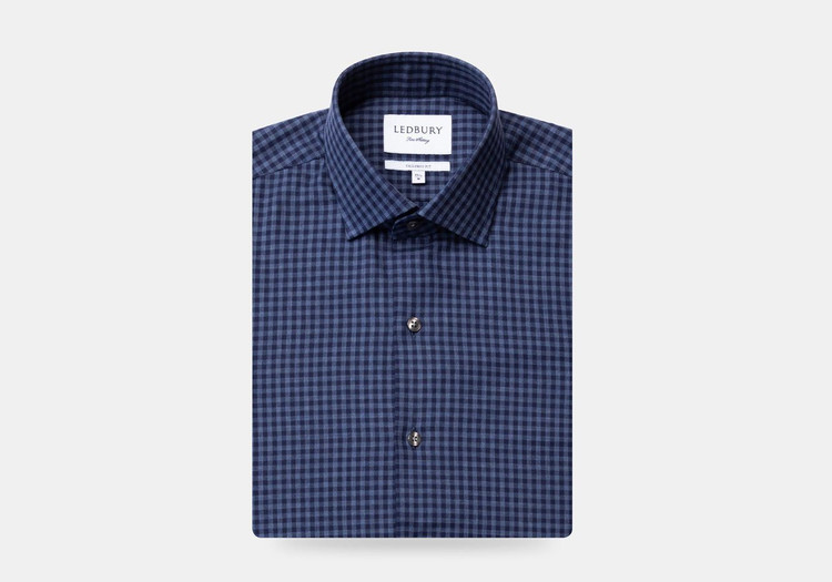 The Dark Blue Heather Crosswell Brushed Gingham Casual Shirt by Ledbury
