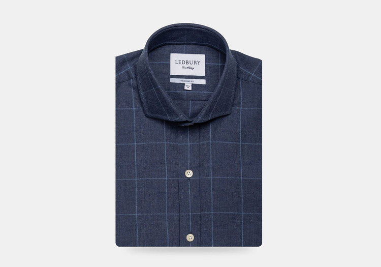 The Dark Blue Arjun Windowpane Dress Shirt by Ledbury