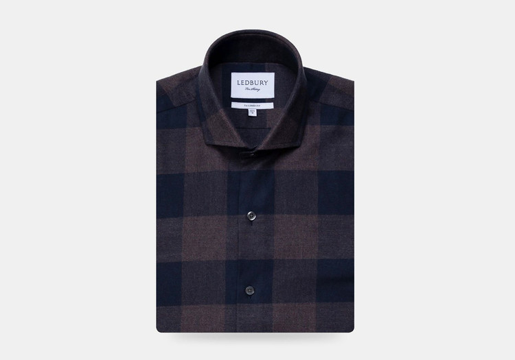 The Navy Kenesaw Flannel Casual Shirt by Ledbury