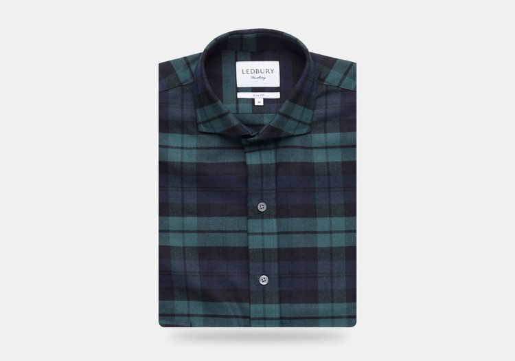 The Navy Gibbs Flannel Casual Shirt by Ledbury