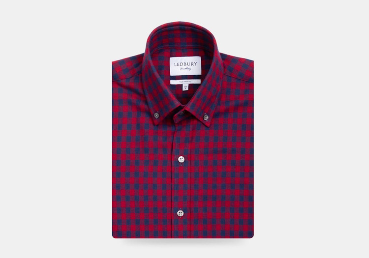 The Red Maxwell Check Casual Shirt by Ledbury