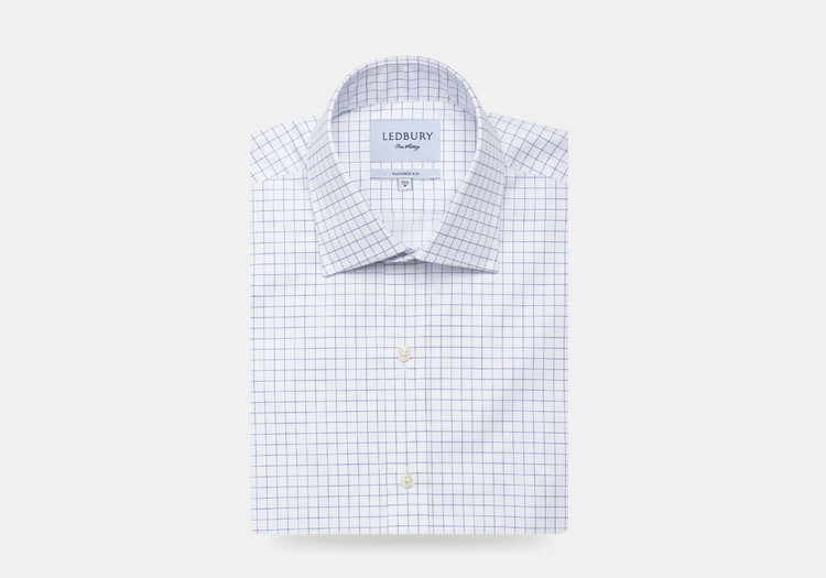 The Navy McFadden Windowpane Dress Shirt by Ledbury
