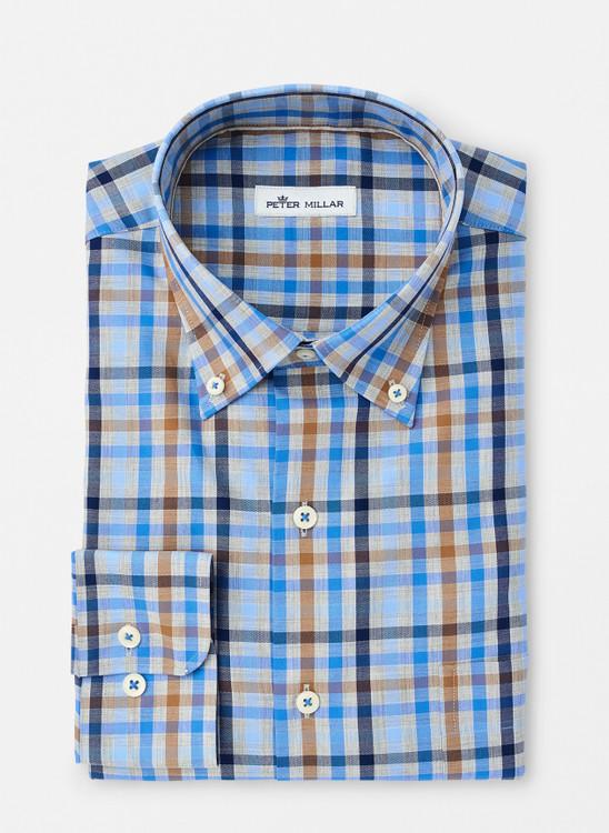 Baker Island Multi-Gingham Sport Shirt in Stingray by Peter Millar