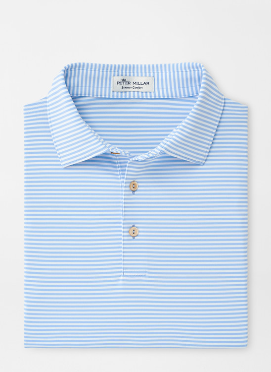 Hales Stripe Stretch Jersey 'Crown Sport' Performance Polo with Sean Self Collar in Cottage Blue by Peter Millar