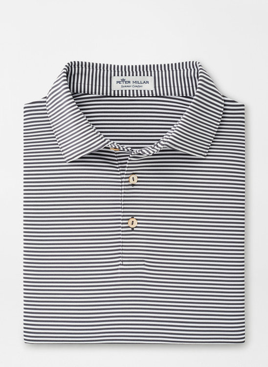 Hales Stripe Stretch Jersey 'Crown Sport' Performance Polo with Sean Self Collar in Iron by Peter Millar