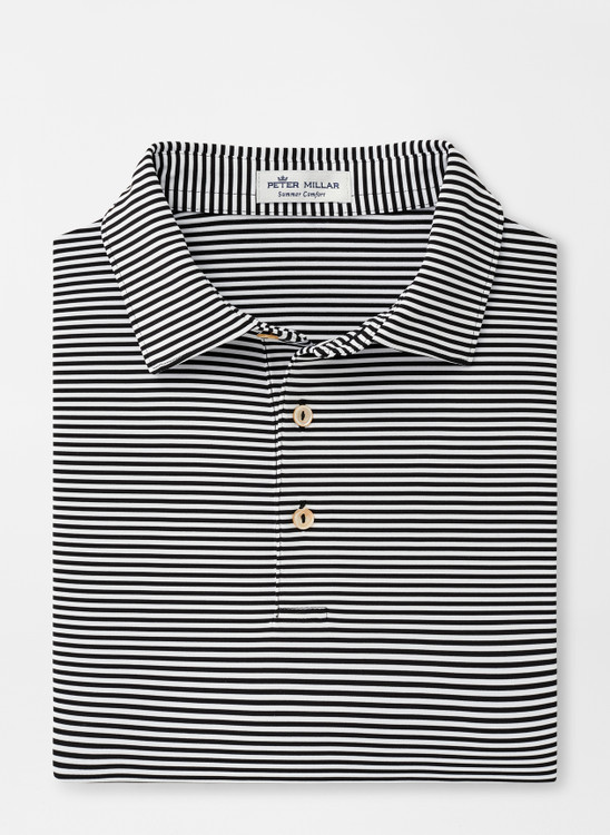 Hales Stripe Stretch Jersey 'Crown Sport' Performance Polo with Sean Self Collar in Black by Peter Millar