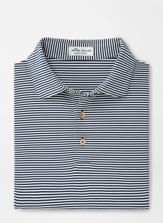 Hales Stripe Stretch Jersey 'Crown Sport' Performance Polo with Sean Self Collar in Navy by Peter Millar