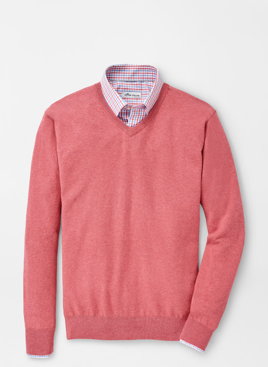 Crown Soft V-Neck in Red Ginger by Peter Millar
