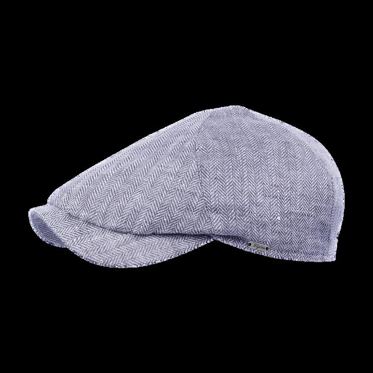 Classic Linen Herringbone Newsboy Slim Cap in Blue by Wigens