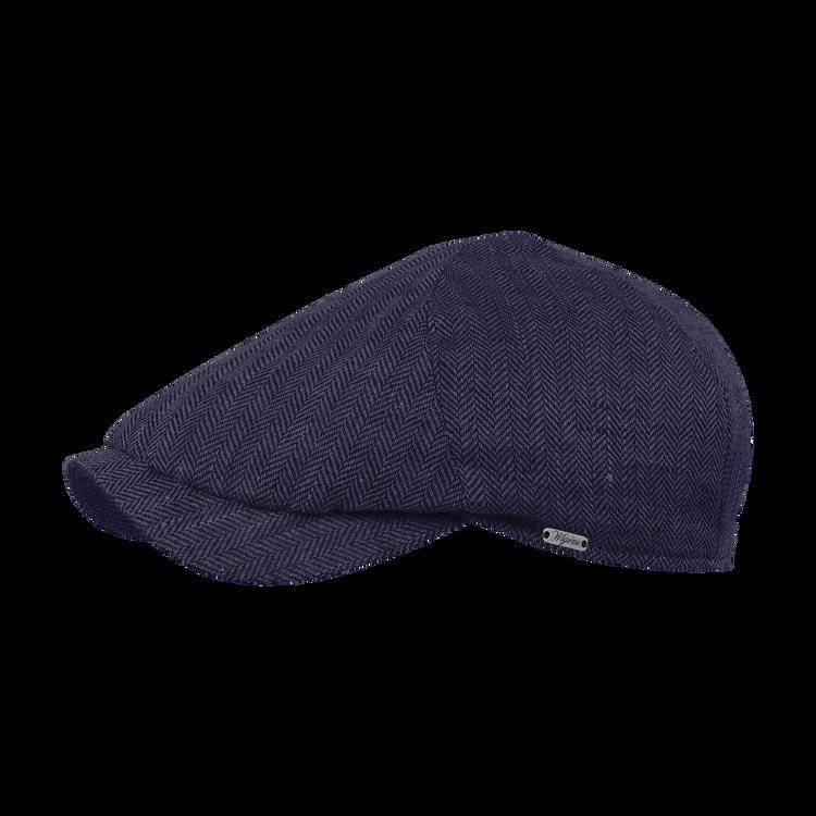 Classic Linen Herringbone Newsboy Slim Cap in Navy by Wigens