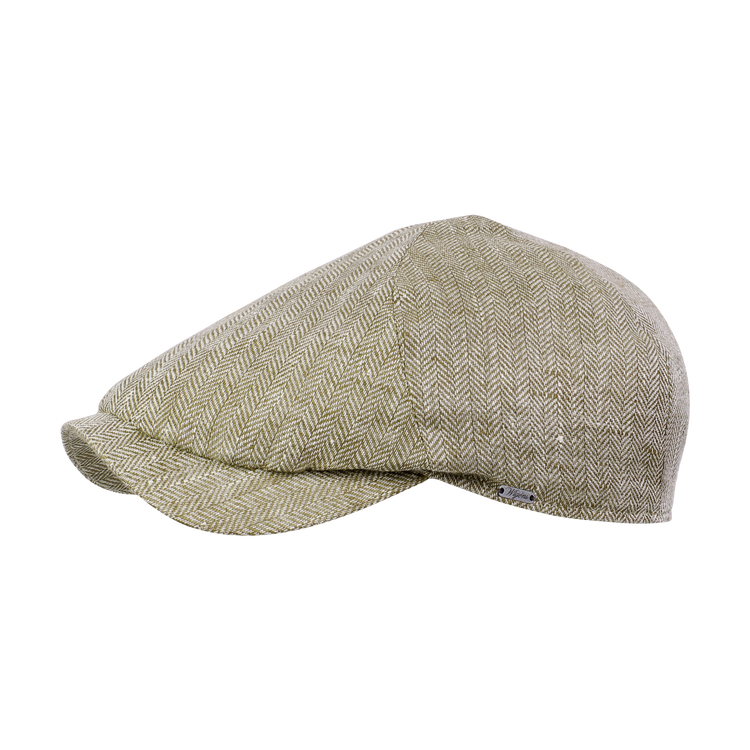 Classic Linen Herringbone Newsboy Slim Cap in Olive by Wigens