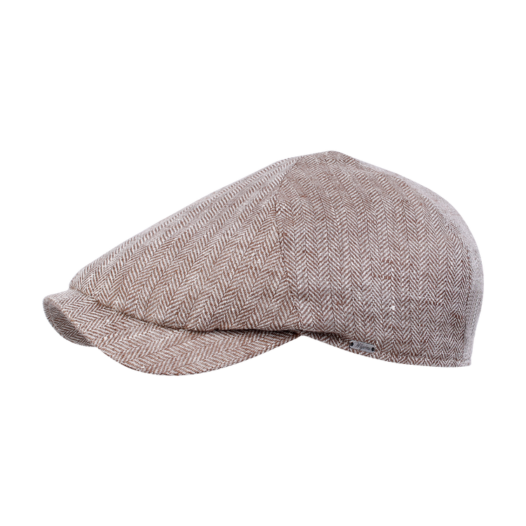 Classic Linen Herringbone Newsboy Slim Cap in Brown by Wigens