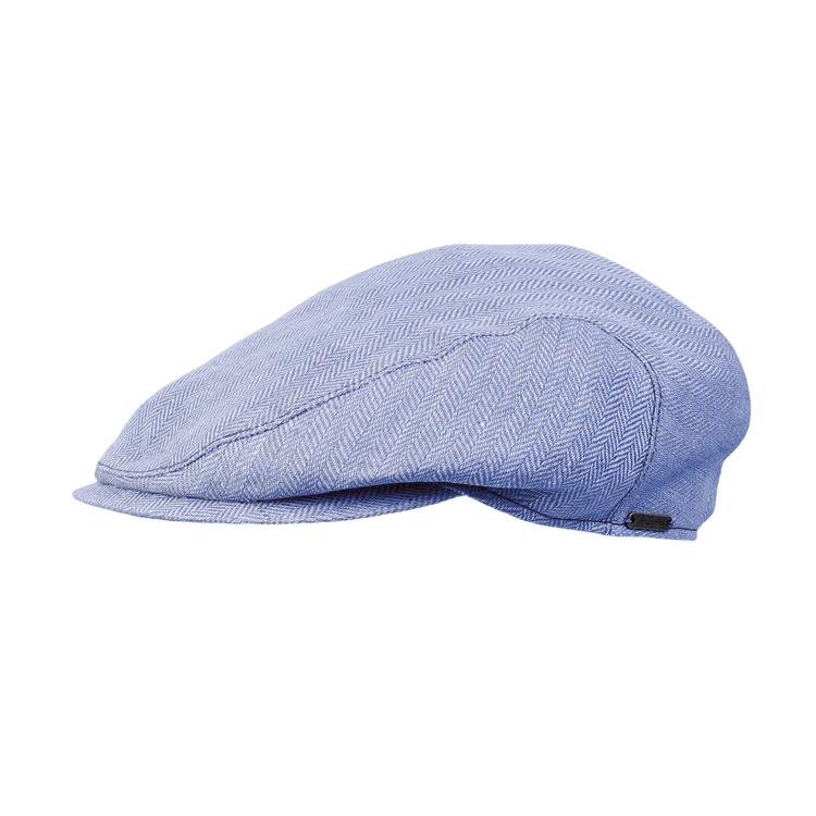 Classic Linen Herringbone Ivy Slim Cap in Blue by Wigens