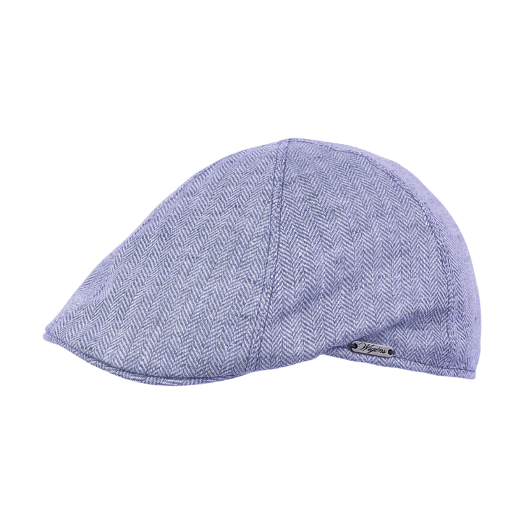 Classic Linen Herringbone Pub Cap in Blue by Wigens