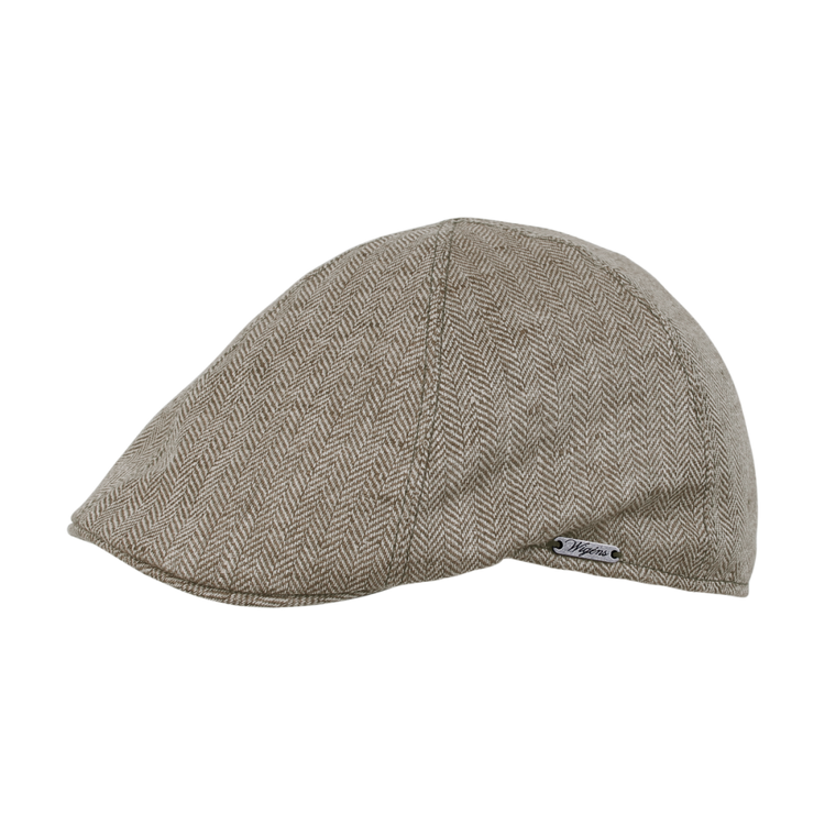Classic Linen Herringbone Pub Cap in Brown by Wigens
