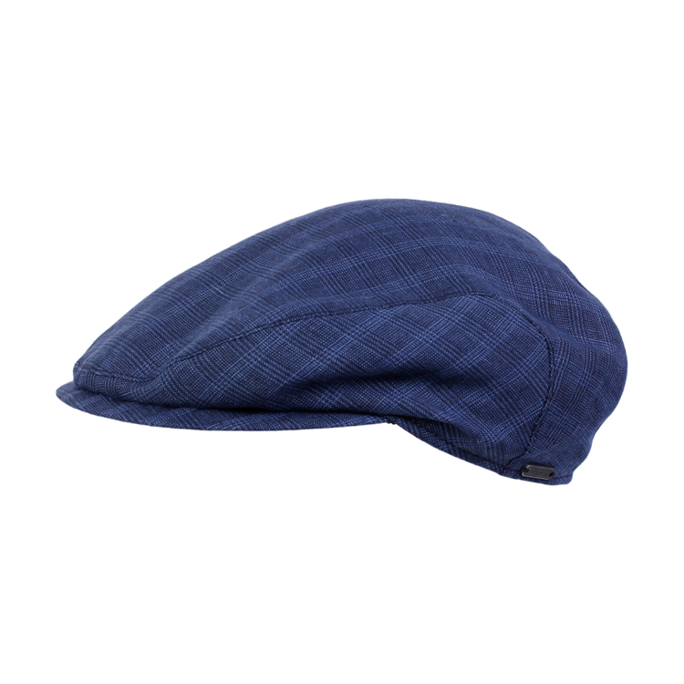 Classic Linen Glencheck Ivy Slim Cap in Navy by Wigens