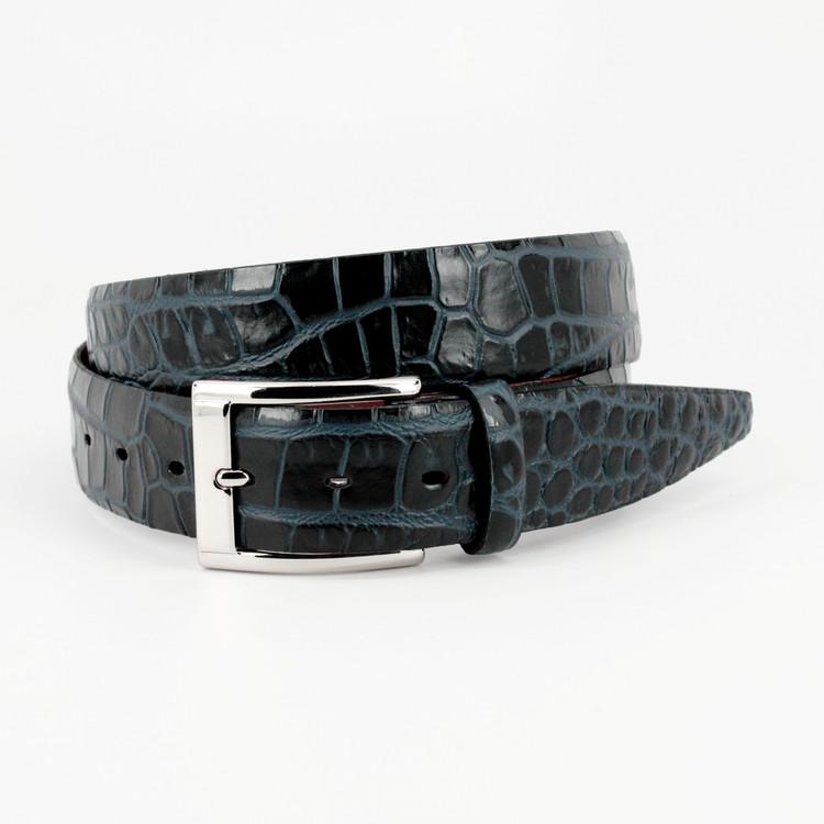 Bi-Color Crocodile Embossed Calfskin Belt in Black / Navy by Torino Leather Co.