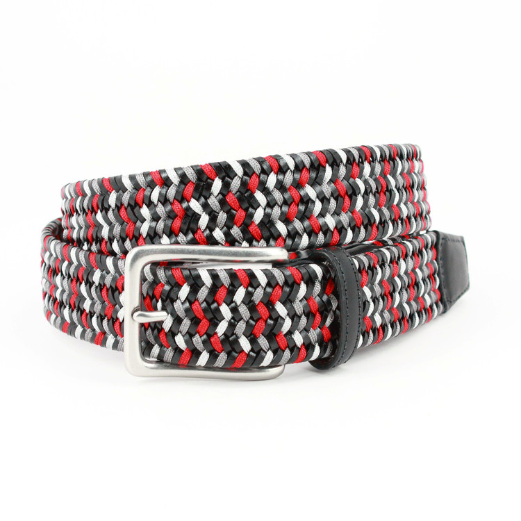 Italian Woven Leather & Rayon Belt in Black, Grey & Red  by Torino Leather Co.