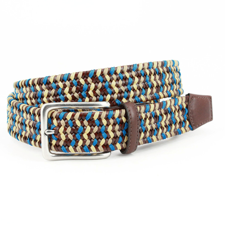 Italian Woven Leather & Rayon Belt in Brown, Blue & Yellow by Torino Leather Co.