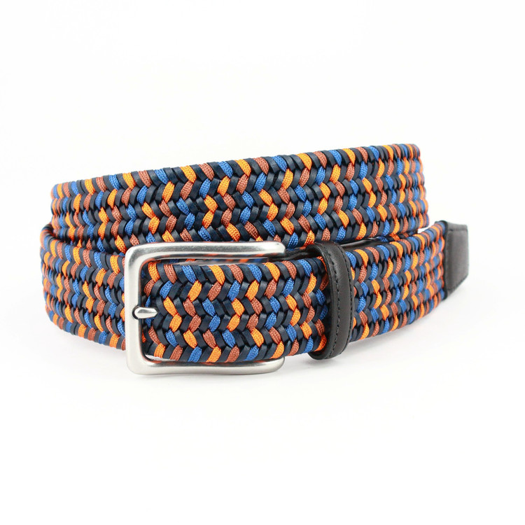 Italian Woven Leather & Rayon Belt in Navy, Blue & Orange by Torino Leather Co.