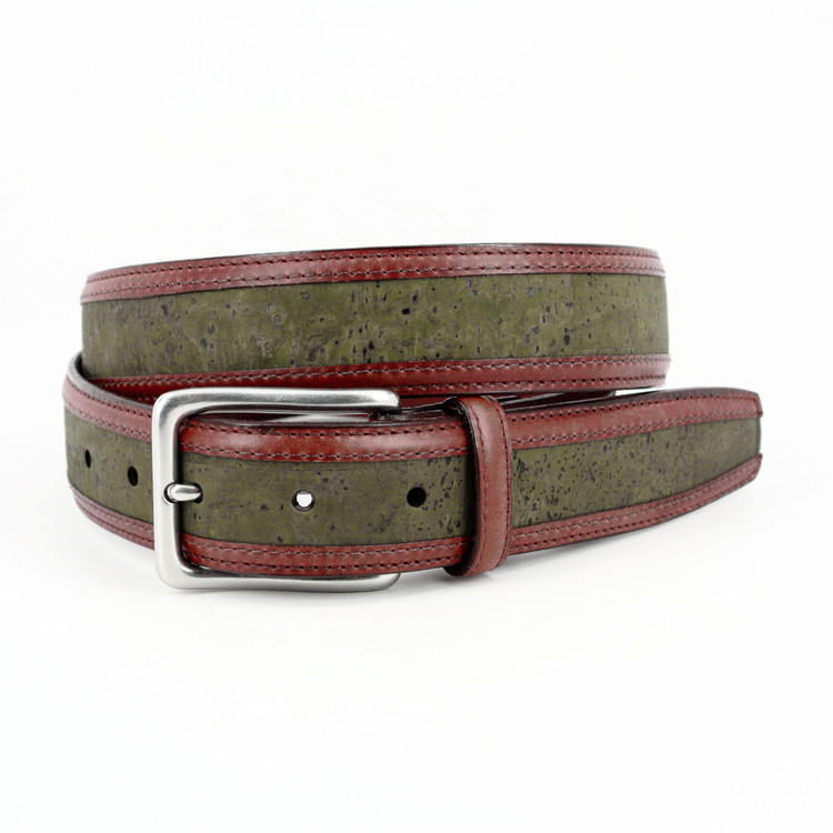 Portuguese Cork with Waxhide Leather Trim Belt in Olive by Torino Leather Co.