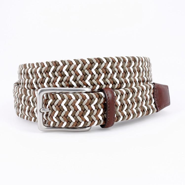 Italian Woven Cotton Belt in Olive, Brown & White by Torino Leather Co.