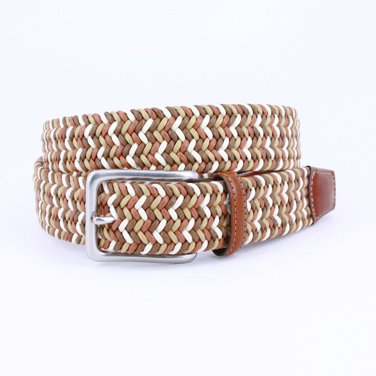 Italian Woven Cotton Belt in Tan, Brown & Cream by Torino Leather Co.