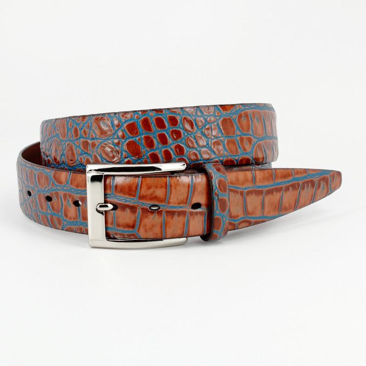 Bi-Color Crocodile Embossed Calfskin Belt in Tan / Blue by Torino Leather Co.