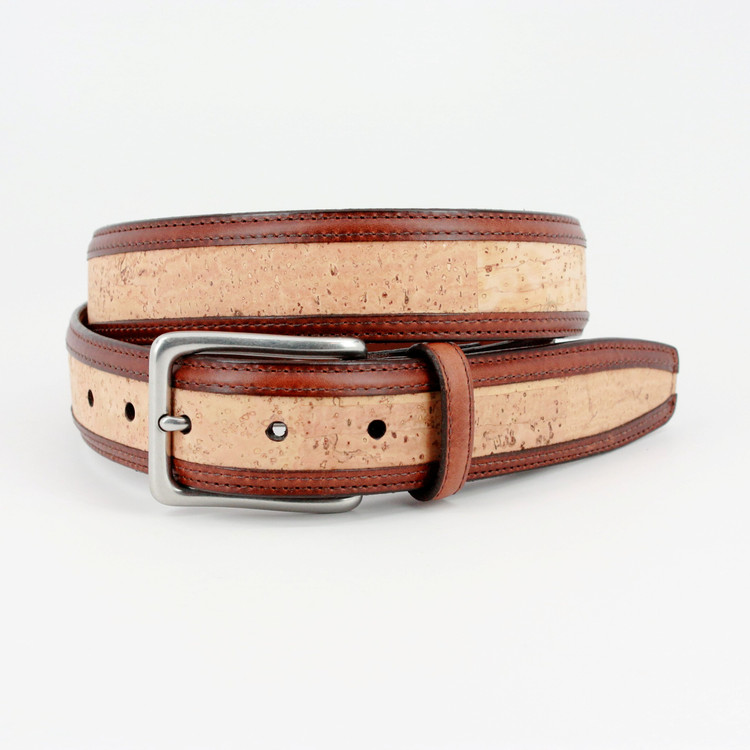 Portuguese Cork with Waxhide Leather Trim Belt in Natural by Torino Leather Co.