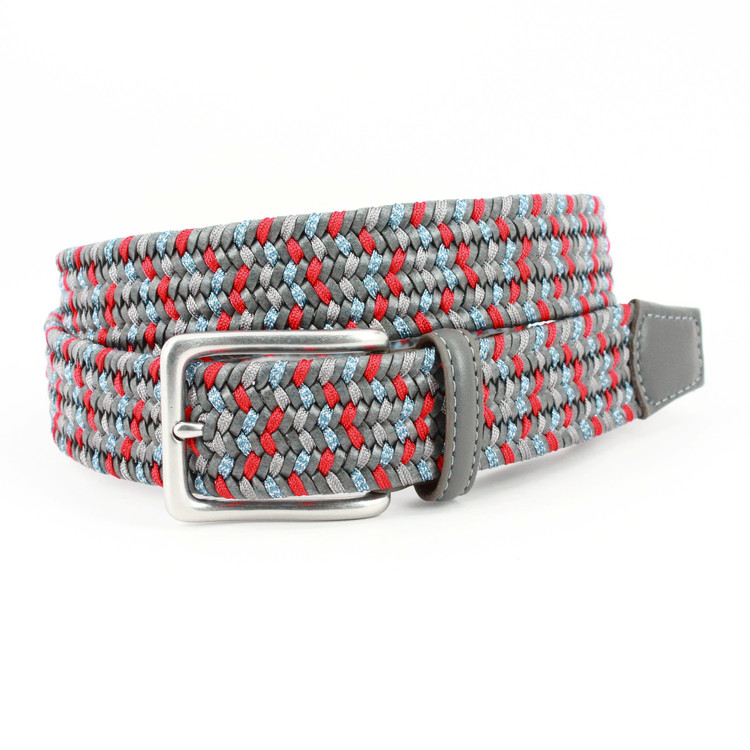 Italian Woven Leather & Rayon Belt in Grey, Red & Denim by Torino Leather Co.