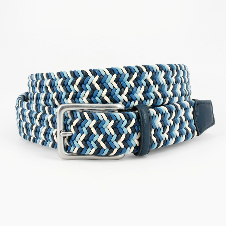 Italian Woven Cotton Belt in Navy, Blue & Cream by Torino Leather Co.