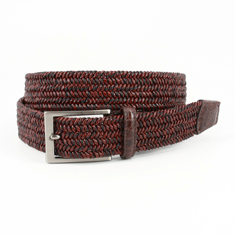 "Italian ""Twist"" Woven Leather & Cotton with Genuine Caiman Tabs Belt in Brown by Torino Leather Co."