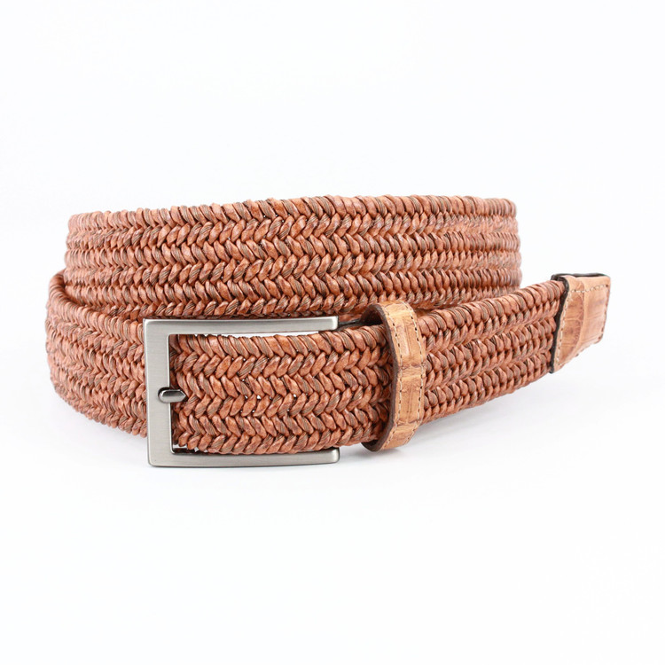 "Italian ""Twist"" Woven Leather & Cotton with Genuine Caiman Tabs Belt in Saddle by Torino Leather Co."