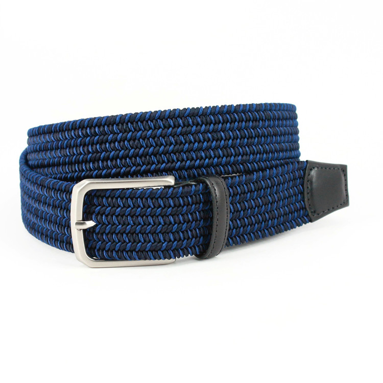 Italian Woven Rayon Elastic Belt in Navy by Torino Leather Co.