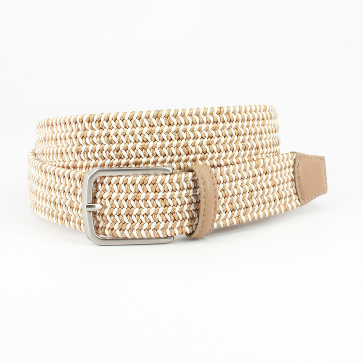 Italian Woven Rayon Elastic Belt in Camel by Torino Leather Co.
