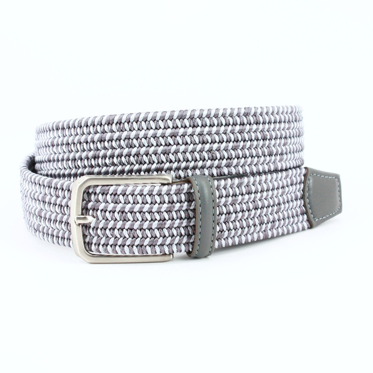 Italian Woven Rayon Elastic Belt in Grey by Torino Leather Co.